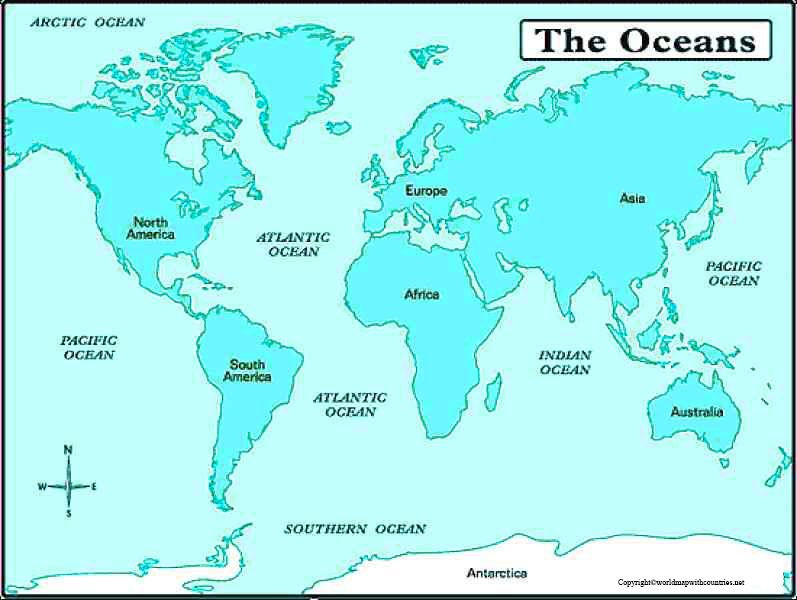 world map with southern ocean