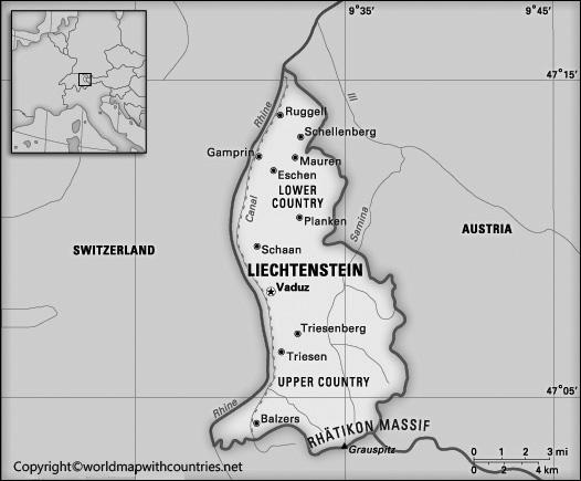 Blank Map of Liechtenstein