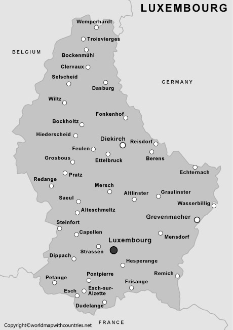 Blank Map of Luxembourg