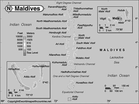 Blank Map of Maldives
