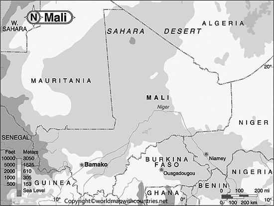 Blank Map of Mali