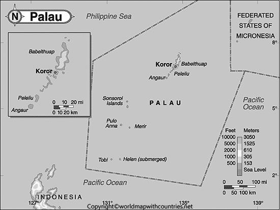 Blank Map of Palau