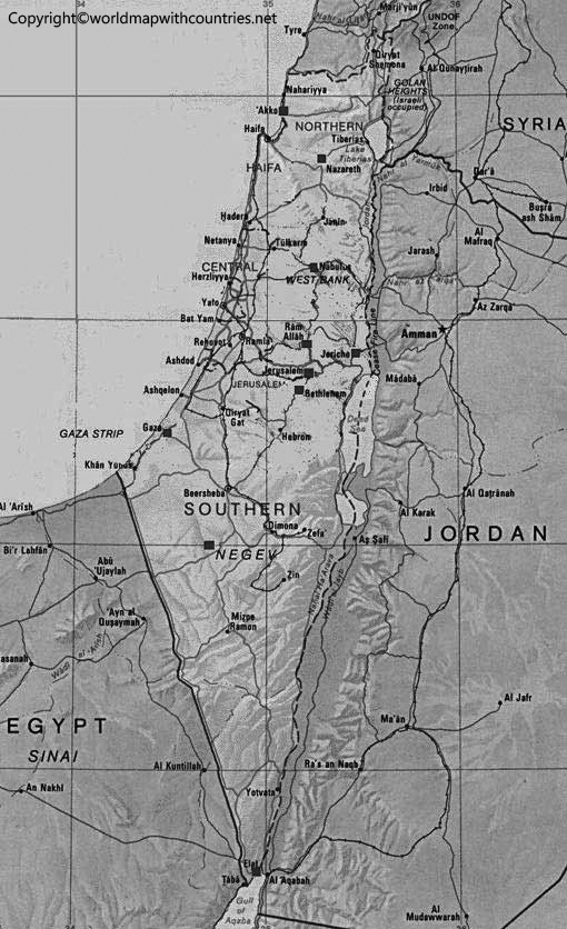 Blank Map of Palestine State