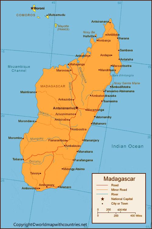 Labeled Map of Madagascar