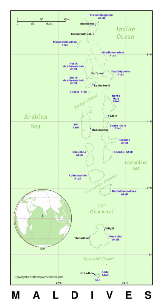 Labeled Map of Maldives