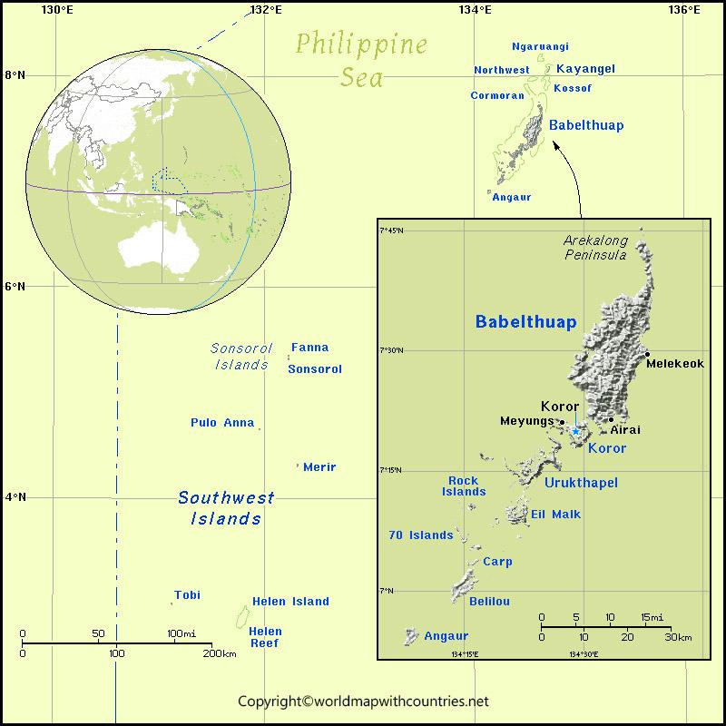Labeled Map of Palau