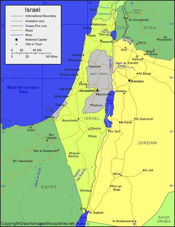 Labeled Map of Palestine State