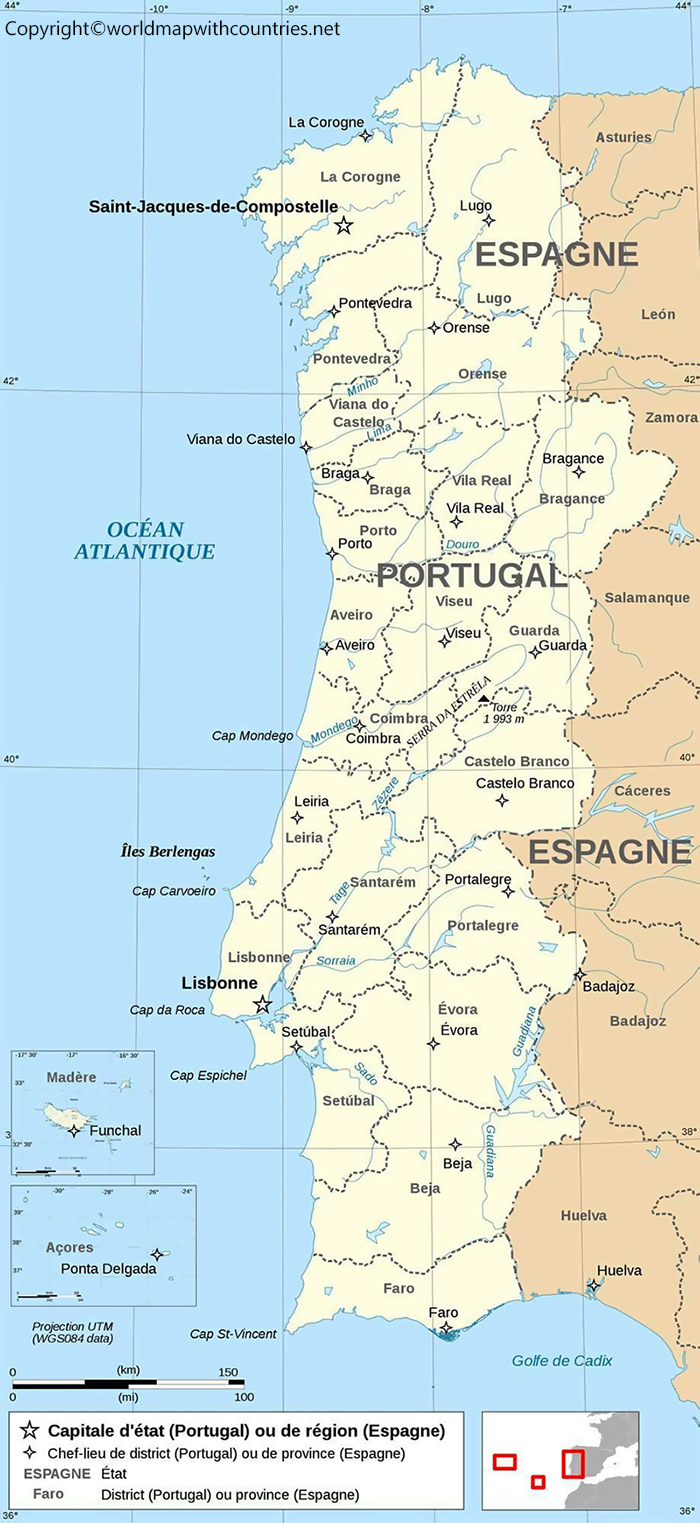 Labeled Map of Portugal