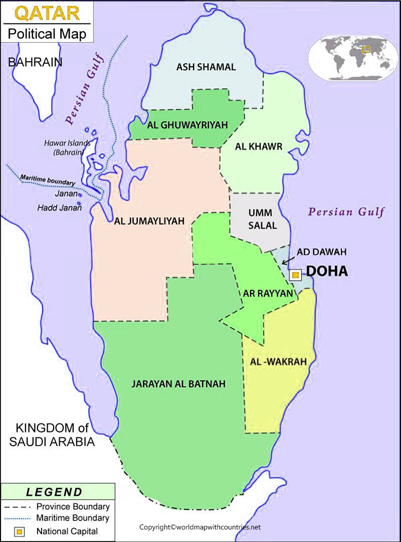 Labeled Map of Qatar