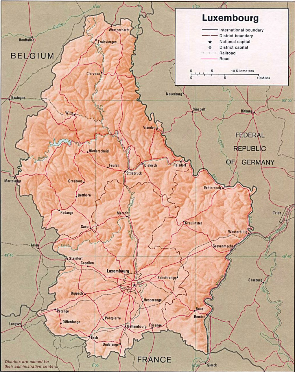 Luxembourg Map with States