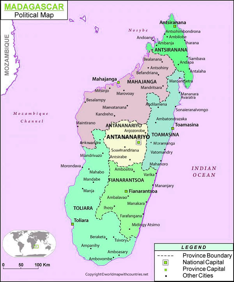 Madagascar Map with States