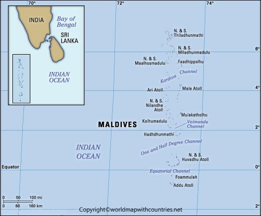 Printable Map of Maldives