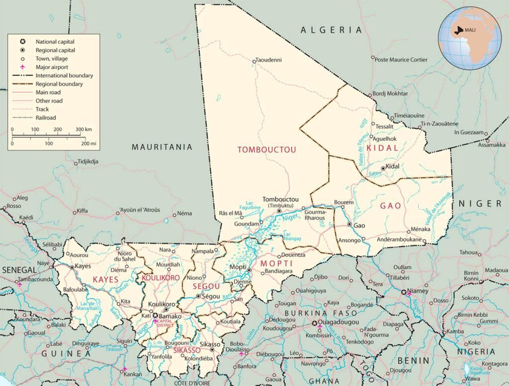 Printable Map of Mali