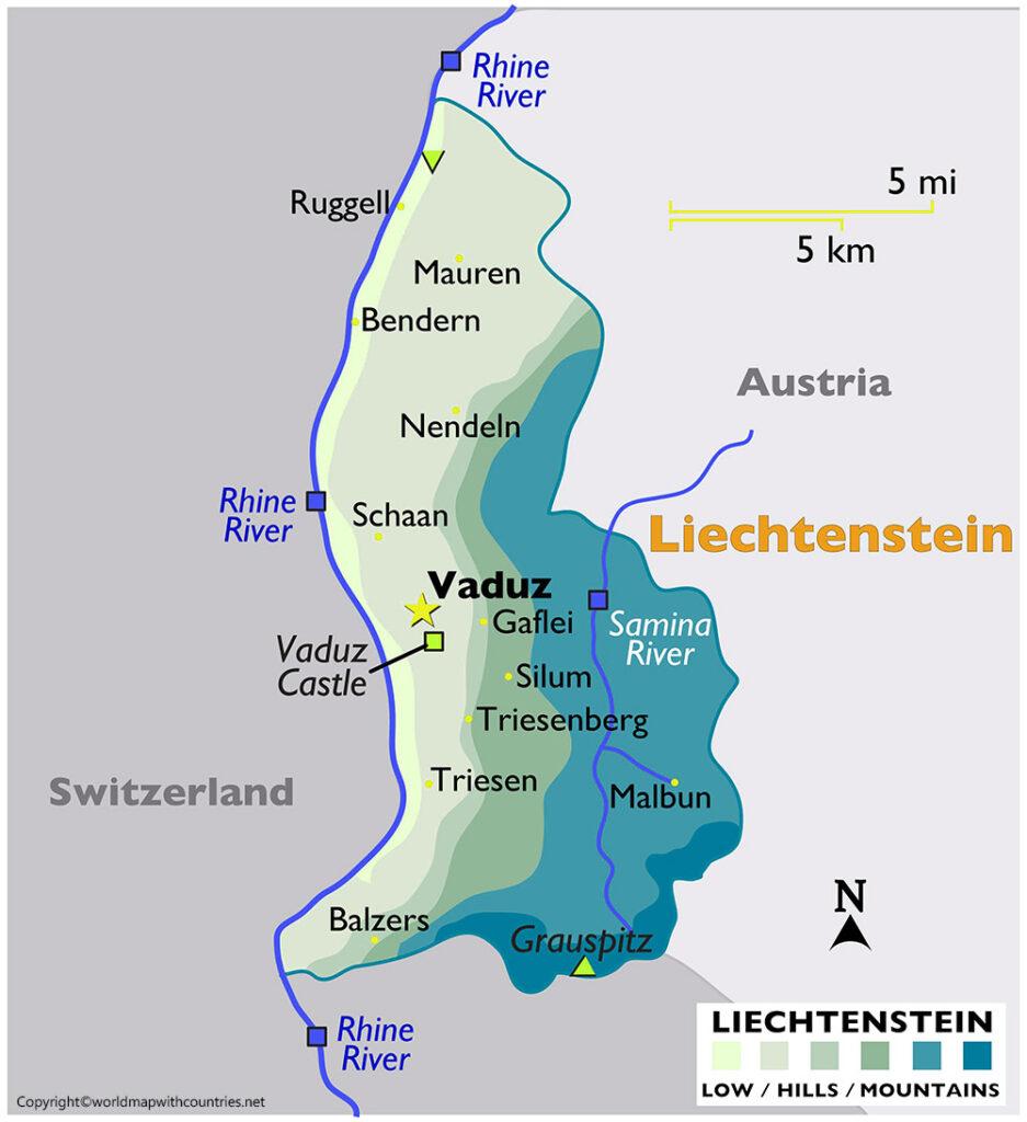 Printable Map of Liechtenstein