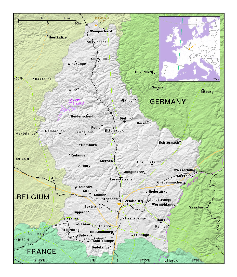 Printable Map of Luxembourg