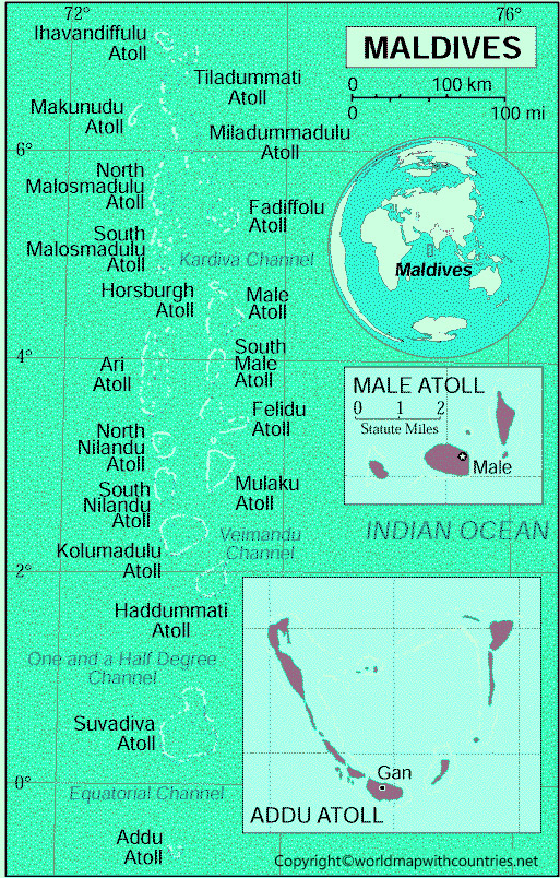 Maldives Map with States