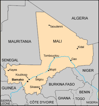 Mali Map with States