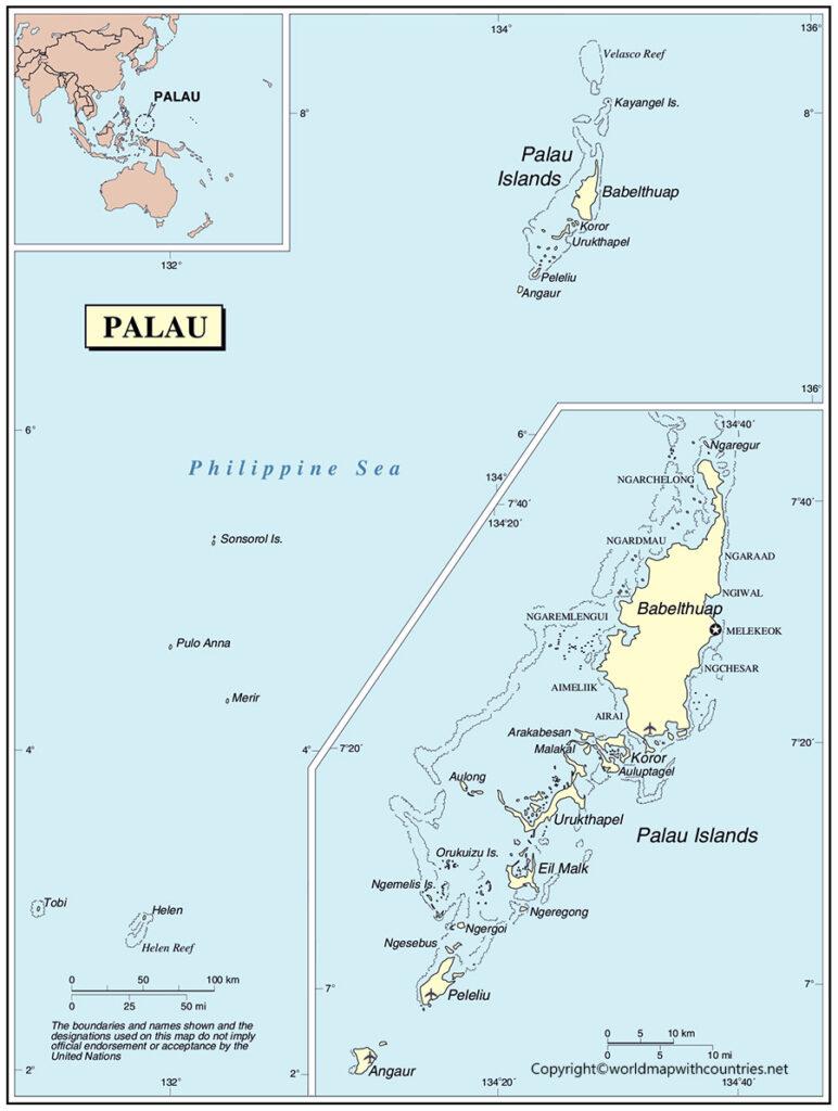 Printable Map of Palau
