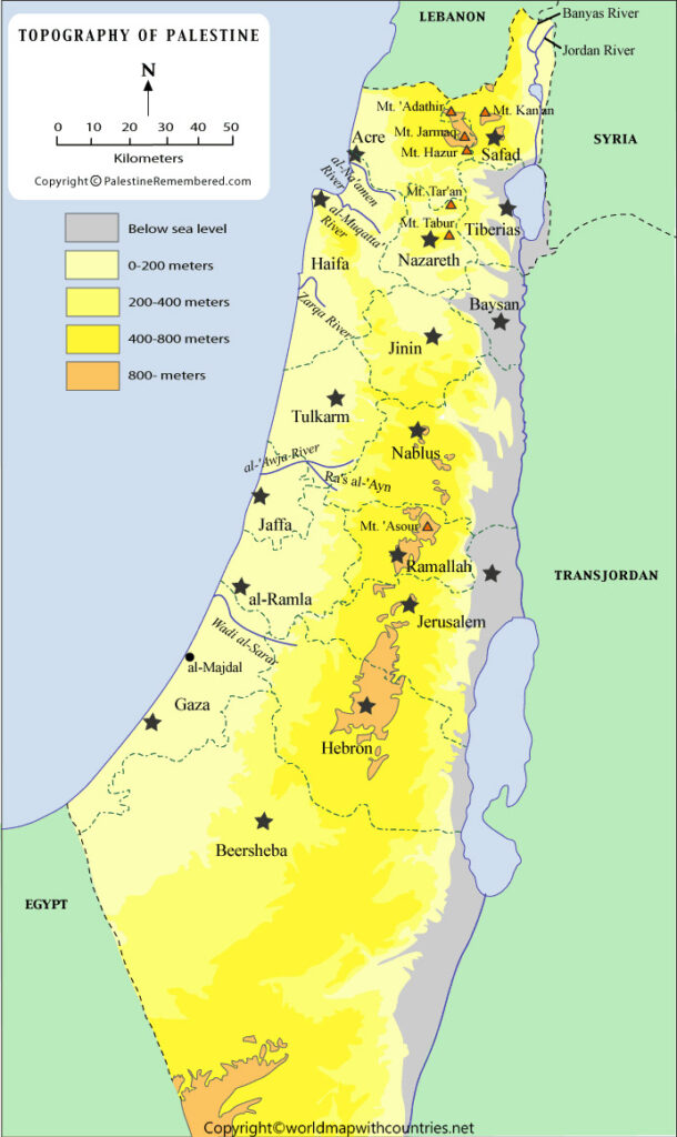 Printable Map of Palestine State