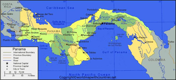 Printable Map of Panama: