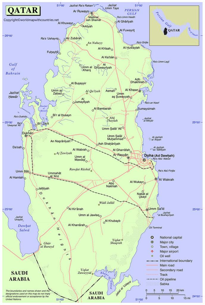 Printable Map of Qatar