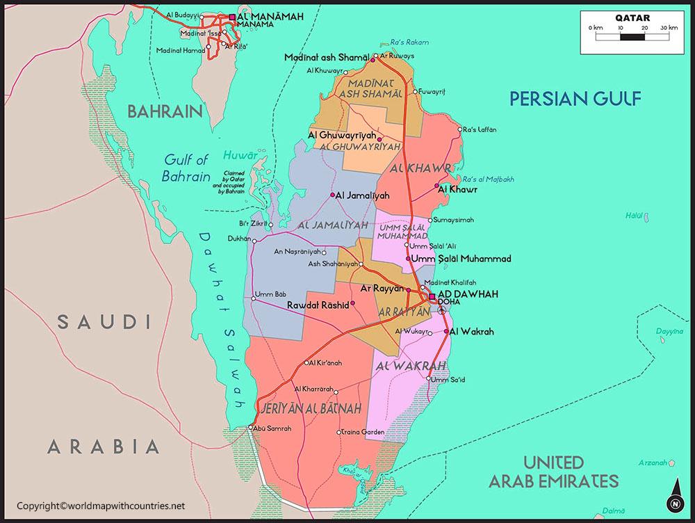 Qatar Map with States